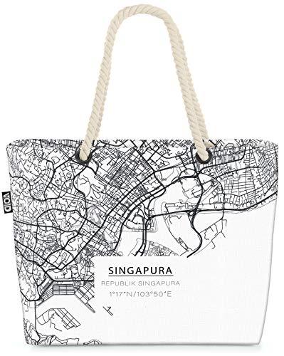 VOID Singapur Stadtplan Strandtasche Shopper 58x38x16cm 23L XXL Einkaufstasche Tasche Reisetasche Beach Bag