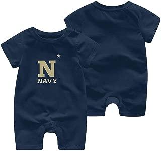 US Navy Naval Academy Cotton Baby Bodysuits Short Sleeve One Piece Romper 0-2T Navy