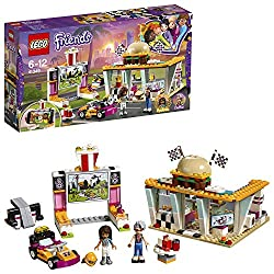 Build a classic American diner with drive-in theatre, plus a go-kart and launcher Includes Andrea and Dottie LEGO Friends mini-doll figures, plus Pepper the bird figure Accessory elements include a burger, fries, drink, sauce bottles, salt and pepper...