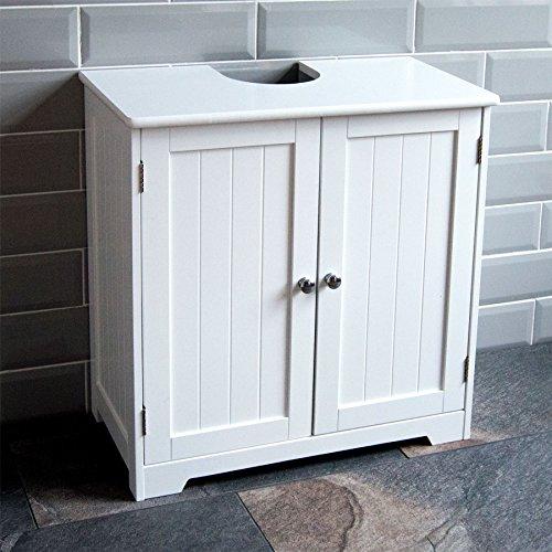 Vida Designs Bath Vida priano sous évier de Salle de Bain Rangement à Poser au Sol Unité de lavabo Armoire, Blanc, Bois Composite, Product Size: H W 60 x D 30 Cm Approx