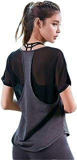 EZ-Joyce Women's Workout Shirts Yoga Tops Activewear Mesh Splicing T-Shirts Ladies Running Fitness Sports Short Sleeve Tees