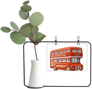 Britain UK London Red Double Decker Bus Metal Picture Frame Ceramic Vase Decor