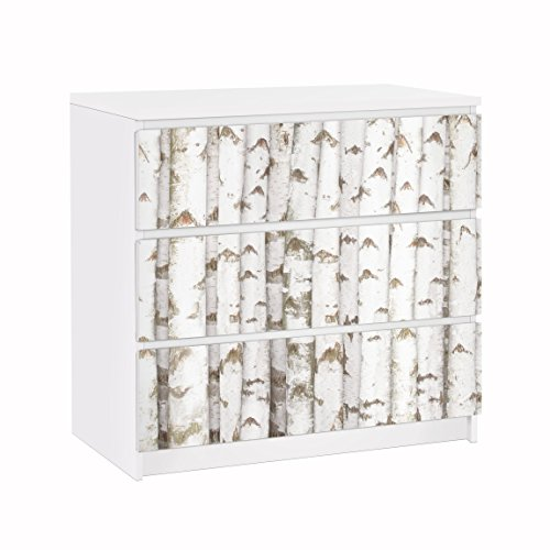Apalis Vinilo Adhesivo para Muebles IKEA - Malm Dresser 3xDrawers - No.YK15 Birch Wall, Größe:3 Mal 20cm x 80cm