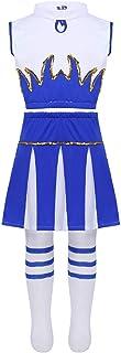 Alvivi, Disfraz de Animadora para Niña Azul 3Pcs Traje de Porrista Danza Chica Tank Tops y Falda Calcetines Altos Media para Fiesta Actuación Coplay 5-14 Años