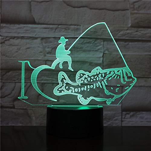 AOXULIU Luz de noche Lámpara De Mesa Creativa Para Hombre De Pesca, 7 Colores Que Cambian, Lámpara De Mesa 3D, Luz De Noche Led Para Peces, Luz De Decoración Para Dormitorio De Oficina Base Blanca