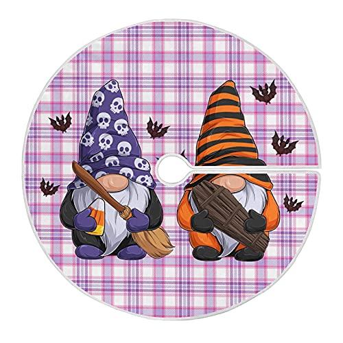 913 Falda del Árbol Gnomos De Halloween Murciélago A Cuadros Morados Falda para Árbol De Navidad Grande Falda De Árbol De Navidad Impresa Tree Skirt para Fiesta 76cm