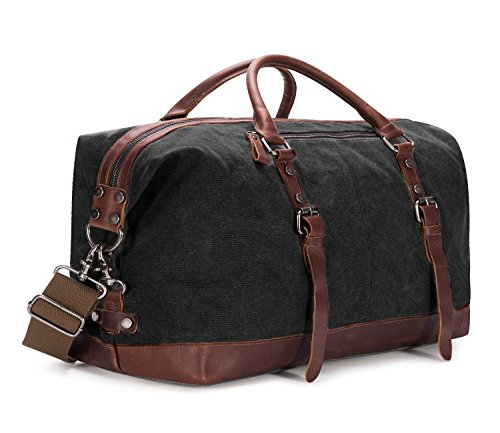 BAOSHA Oversized Canvas PU Leather Travel Tote Duffel Bag Weekender Overnight Bag (Black)