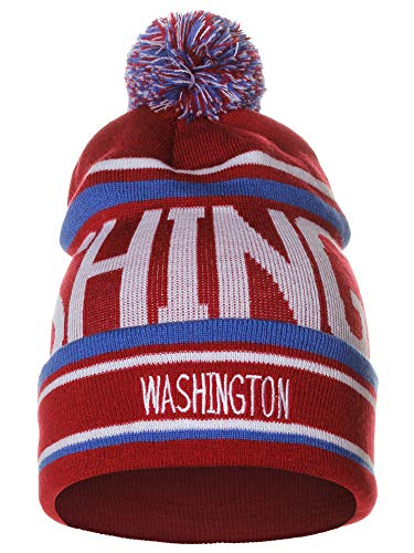 American Cities Washington Over Sized City Letters Pom Pom Knit Hat Cap Beanie