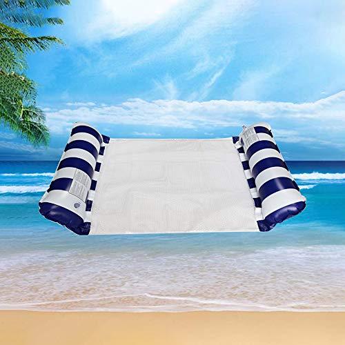 Cama flotante, Hamaca de agua, hinchable, tumbona de salón cómoda portátil, flotador para piscina, playa, para adultos y niños (azul)