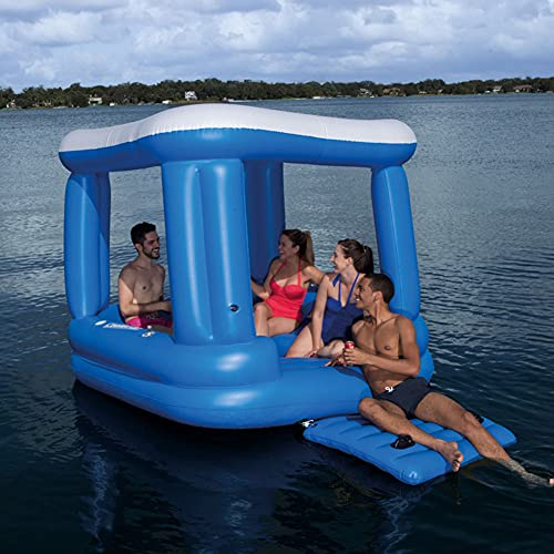 JJZXLQ Inflatable Floating Island House Lounge Chair Water Row Boat Bed Shade, Dock Floats Leisure Swimming Pool Beach Floating Deck