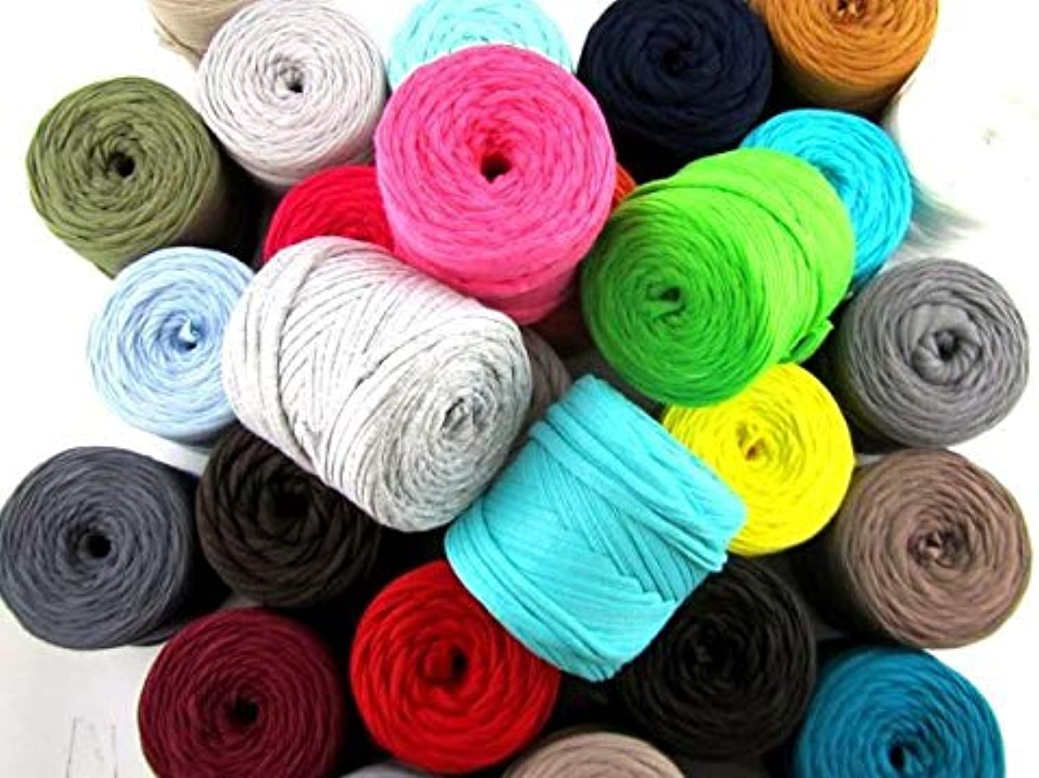 Hoooked Zpagetti Mixed Solid Cotton TShirt Yarn Baby Cones  20m (65.6'), 100g, Pack of 30