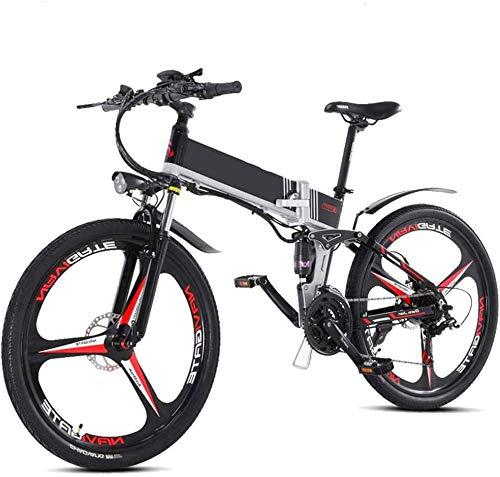 Bicicleta eléctrica Bicicleta eléctrica por la Mon Bicicleta eléctrica Plegable 26 '' de la montaña for Adultos E Bicicletas Playa Nieve Rueda de la Bici de la Bicicleta 2.0 Neumático con 300w 48v m