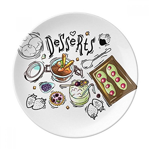 DIYthinker Desserts Chocolat Fraise France Porcelaine décorative Assiette à Dessert 8 Pouces Dîner Accueil Cadeau 21cm diamètre Multicolor