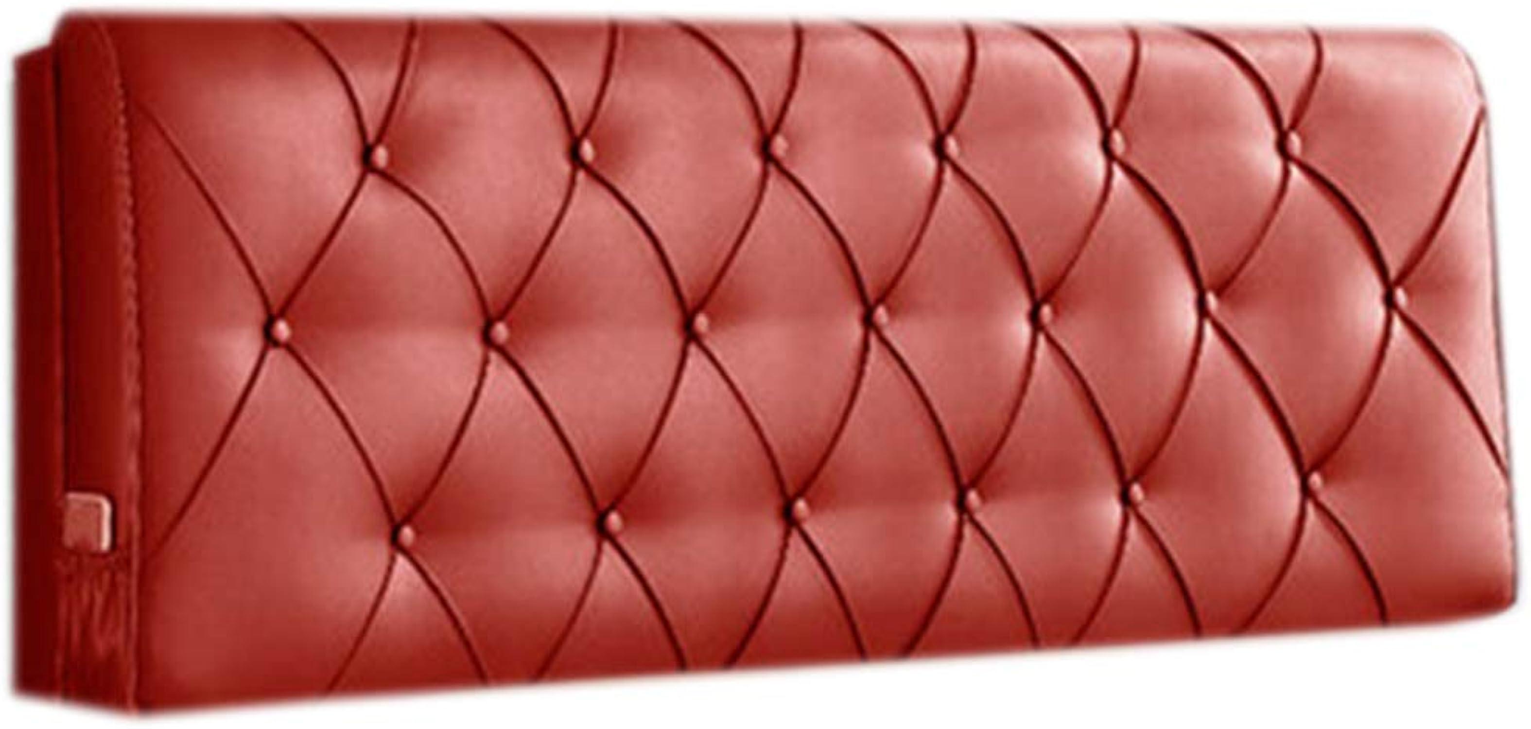 JYW-kaodian Tête De Lit Coussin Wedge PilFaible Housses De Coussins Oreiller,Tête de lit en Cuir Moderne Amovible 5 Couleurs en 6 Tailles,rouge,120  58  10cm