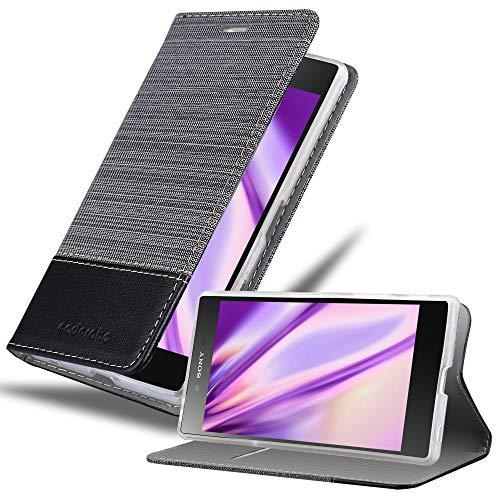 Cadorabo Hülle für Sony Xperia Z5 Premium - Hülle in GRAU SCHWARZ – Handyhülle mit Standfunktion & Kartenfach im Stoff Design - Case Cover Schutzhülle Etui Tasche Book
