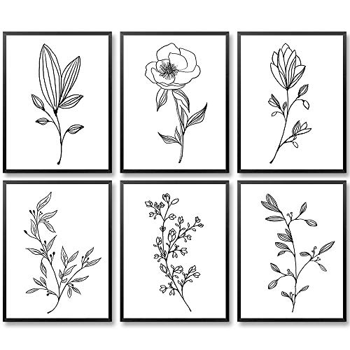 Minimalist Flowers Prints, Abstract Flower Art Print, 8 x10 Inches Plant Wall Art Prints, Line Art Wall Decor, Black and White Prints, Housewarming Gift (Set of 6, Unframed)
