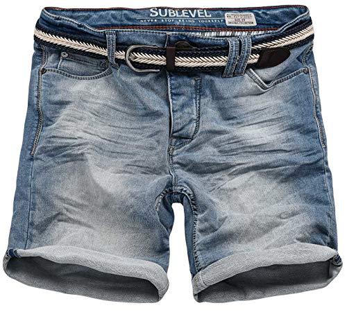 Sublevel Herren Jeans Shorts inkl Flechtgürtel Kurze Hose Bermuda Sommer Sweathose Slim [B702-Hellblau-W32]