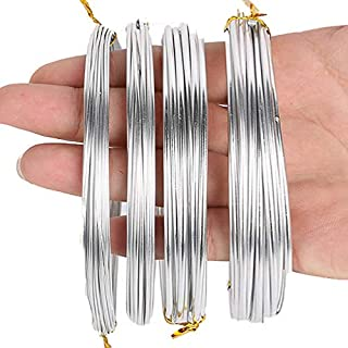 Ginooars Pack of 4 Rolls, Each Roll 16.4 Feet - Aluminum Craft Wire, 4 Sizes (1 mm, 1.5 mm, 2 mm and 2.5 mm in Thickness) Bendable Metal Wire for DIY Crafts Idea