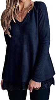 Macondoo Women Lace Hem V-Neck Waffle Top Tees Long Sleeve Casual T-Shirts