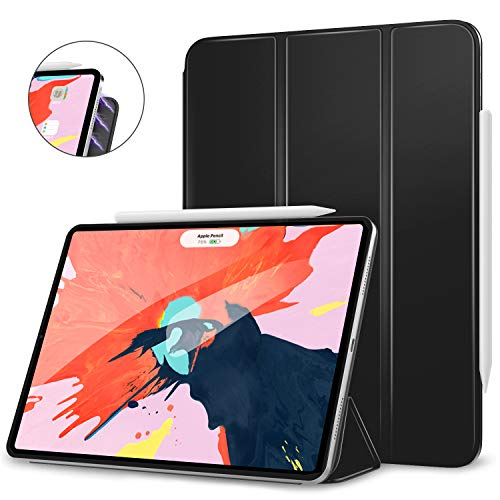 MoKo Hülle für iPad Pro 12.9 2018, Schlanke Schutzhülle mit Magnetisch Befestigung & Ladung für Apple Pencil 2, Auto Schlaf/Aufwach Funktion - Schwarz