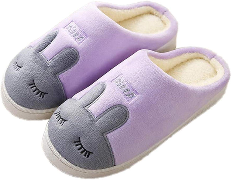 Nafanio Cute Rabbit Home Slippers Short Plush Warm Soft Cotton Women Floor Indoor shoes Flip Flops