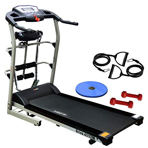 Healthgenie 4112M, 6In1 Motorized Treadmill Fitness, 4.0 Hp Peak With Massager, Tummy Twister, Dumbbells, Resistant Tubes (Multicolor)