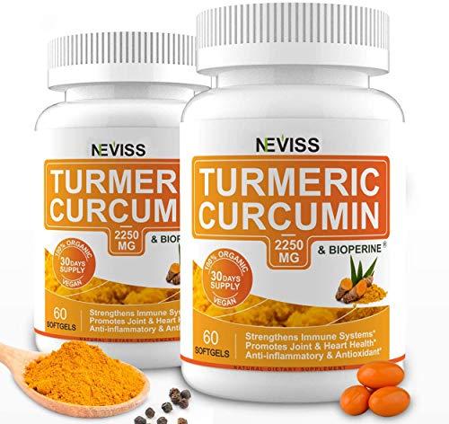 Cúrcuma | Neviss | Suplemento con Bioperina (Extracto de Pimienta Negra) | 2250 mg | 120 Cápsulas