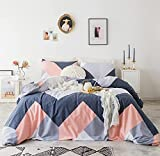 YuHeGuoJi 3 Pieces Duvet Cover Set 100% Cotton King Size Geometric Bedding Set 1 Coral Navy Gray Rectangle Patchwork Print Duvet Cover with Zipper Ties 2 Pillowcases Hotel Quality Soft Breathable