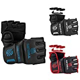 Sanabul Essential MMA Grappling Gloves (Black/Blue, Small/Medium)