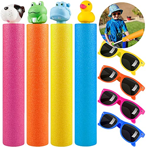 GiftInTheBox Water Toys for Kids, 4 Pack Water Blaster Set with 4 Pair of Kids Sunglasses, Outdoor...