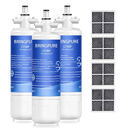 3 Packs of LG LT700P Replacement Refrigerator Water Filter and LT120F Air Filter, Compatible with LG LT700PC, 46-9690, ADQ36006101, R-9690, LFXS29766S, Tested and Certified by NSF/ANSI 42,372