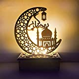 Eid Crafts Night Light, Handmade 3D Wooden Moon Star LED Lights Decor, Ramadan Mubarak Lamp Decorations, Home Party Bedroom Eid Ornaments Gift for Muslims, Ramadan Gift, Islamic Wall Table Decor (E)