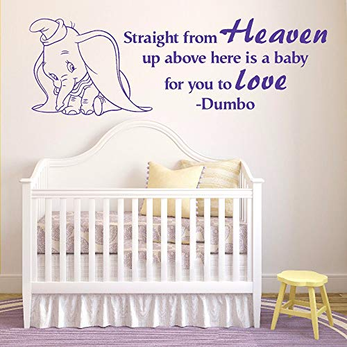 pegatina de pared pegatina de pared frases Dumbo The Elephant Straight From Heaven Wall Art Baby Room Sticker for nursery kids bedroom
