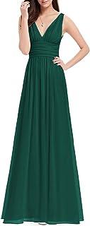 Ever-Pretty Damen Abendkleid A-Linie V-Ausschnitt Ärmellos Chiffon Hohe Taille 09016