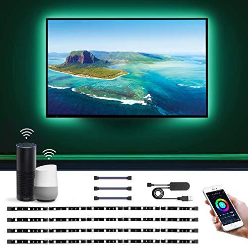 LE 2M Luces de Tira LED WiFi(Solo 2,4 GHz), Tira TV USB 50LM, Control de Voz y Control de APP, 16 Millones RGB, DIY Modos de luz, Compatible con Alexa y Google Home, 4 x Tira led Inteligente para TV