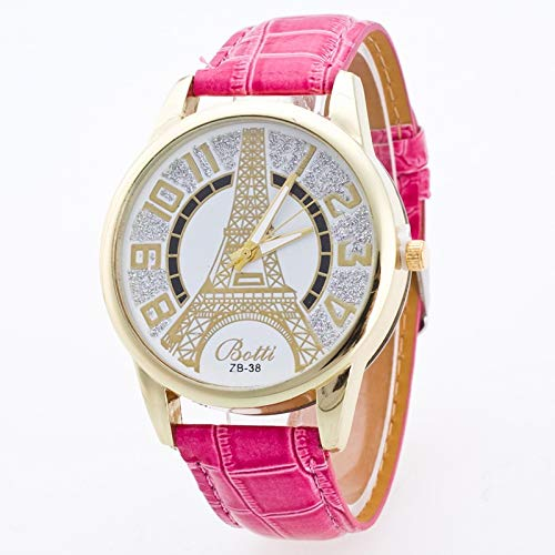 JZDH Frauen-Uhren Mode Dame-Quarz-Uhr-Turm Bild Gürtel Paar-Uhr-Uhr-Kursteilnehmer Dame Armbanduhr (Color : Rose Red)