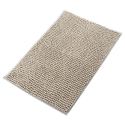 DLOPK Tapis de Bain,Tapis Bain antidérapant Tapis de Bain Absorbant Antidérapant Tapis de Douche Microfibre de Chenille Salle de Bain Tapis Lavable en Machine (Gris Argent) 40x60cm