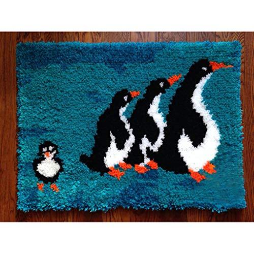 Kit De Alfombras De Gancho Lindo Pingüino para Niños Adultos DIY Costura Conjuntos De Pestillo Kits Cubierta Hand Craft Bordery Haciendo Artesanías(Size:52 * 38cm)