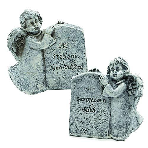 CREOFANT 2X Engel mit Spruch Grabschmuck · 2er Set Trauerengel Grabschmuck · Engel Grabdeko · Grabfigur Polyresin · Gedenkstein (2er Set: In stillem Gedenken & Wir vermissen Dich)