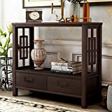 Knocbel 36 Inch Accent Entry Console Table with 2 Bottom Drawers & Metal Handles, Solid Wood Sofa Couch Table for Entryway Hallway Living Room (Espresso)