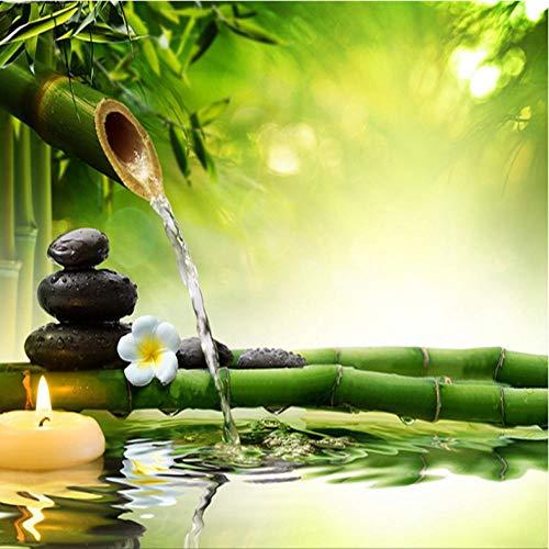 Aisufen 3D foto behang woonkamer TV achtergrond groene bamboe stromend water natuurlijk landschap interieur decoratie muur schilderen 300cmx210cm