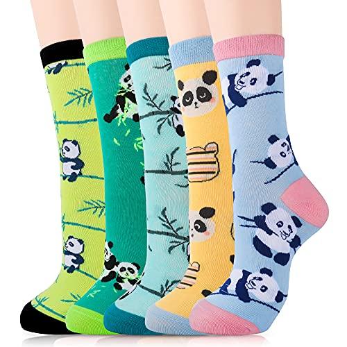 Merclix Calzini Donna, Calze Donna panda, Calzini Donna Cotone, Divertenti, Regalo Donna(5 paia-panda)
