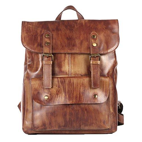 "Genda 2Archer Men Best Cowhide Travel Backpack Office Daypack Fits 14"" Laptop"