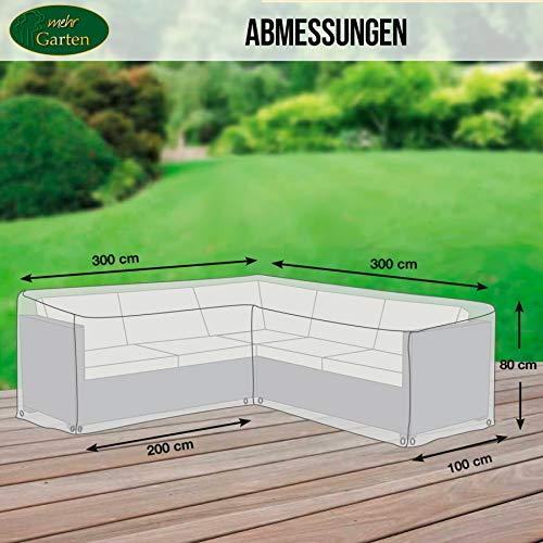 Mehr Garten Gartenmöbel Abdeckung L-Form, Premium Schutzhülle Abdeckplane für Eck-Loungegruppe Loungemöbel wasserdicht 300 x 300 x 80 cm Lichtgrau - 4