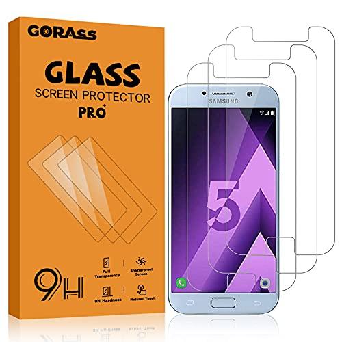 GORASS Protector de Pantalla para Galaxy A5 2017, 3 Unidades 9H Protector de Pantalla de Cristal Templado para Samsung Galaxy A5 2017, Transparente, Sin Burbujas