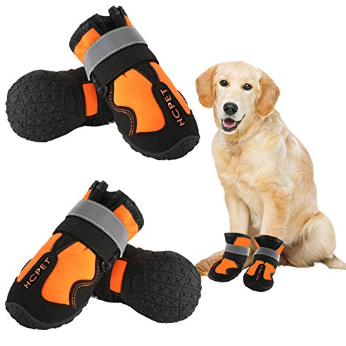 EOFOJP Dog Shoes Waterproof Dog Boots with Reflective Anti-Slip Wear-Resistant Sole for Medium and Large Dogs for Indoor Outdoor Running 4 PCS (6#:2.99''×2.55'' (LW) for 55-65 lbs, Orange)
