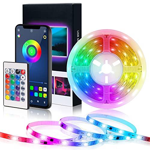 Ruban LED 5m USB Bluetooth, Lumière de RGB 5V DC, Bande Lumineuse LED avec Télécommande, Synchroniser avec Rythme de Musique, Contrôlé par APP, Ruban de LED Bande pour de TV, Tente de Camping