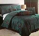 Embroidery Printed Texas Star Western Star Luxury Comforter Suede - 7 Pieces Set (Oversized King, Rustic Turquoise)