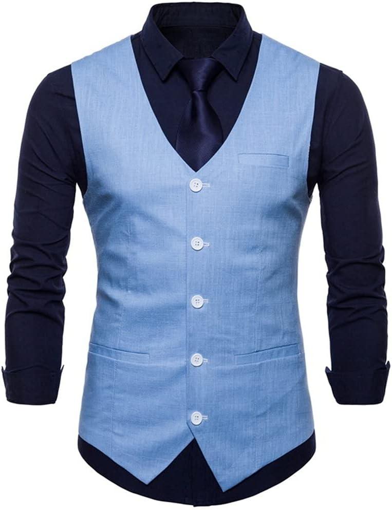YFQHDD Cotton Linen Mens Casual Suit Vest Slim Fit Thin Fabric Sleeveless Dress Vests Mens Business Wedding (Color : Blue, Size : XXL code)