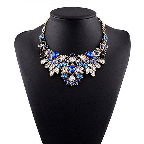 eshion gioielli cristallo donna Chokers Dichiarazione Collane strass Collana girocollo breve catene gioielli Collier Colletto Femme blu